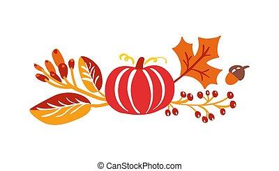 vecteur, feuilles automne, arrière-plan., blanc, jour, citrouille, bouquet, orange, thanksgiving, baies, isolé, elements., saisonnier, fetes, érable, parfait