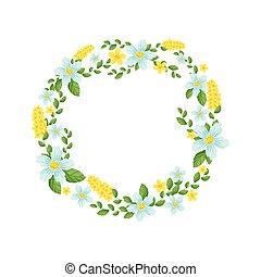 vecteur, feuilles, couronne, flowers., illustration.