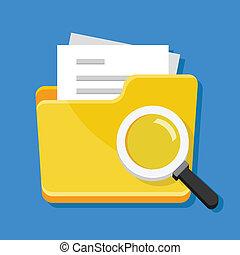 vecteur, fichier, recherche, icône