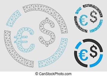 vecteur, fil, triangle, cadre, diagramme, maille, modèle, mosaïque, icône
