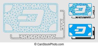 vecteur, fil, triangle, cadre, tiret, maille, modèle, mosaïque, icône