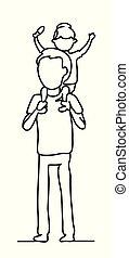 vecteur, fille, famille, gens, concept., dessin, père, lines., une, park., monochrome, ligne, promenade, journalier, bonheur