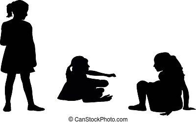 vecteur, filles, jouer, silhouette, ensemble