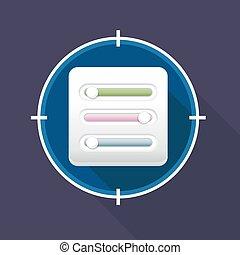 vecteur, filtre, contrôle, paramètres, icône