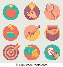 vecteur, finance, icones affaires