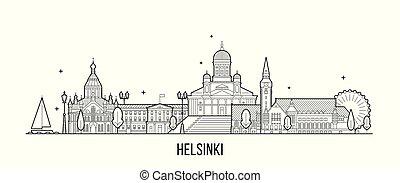 vecteur, finlande, bâtiment, ligne, helsinki, horizon ville
