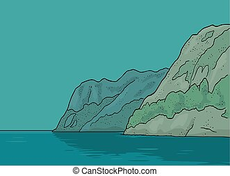vecteur, fjord, vendange, gravure, couleur, norway.