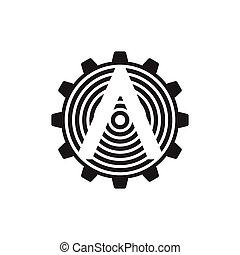 vecteur, flèche, dent, logo, machine, industriel