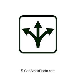 vecteur, flèche, trois, conception, manière, icon., illustration, plat, direction