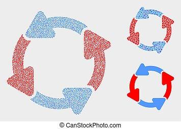 vecteur, flèches, pointillé, circulation, icônes