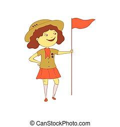 vecteur, flag., illustration, arrière-plan., scout, girl, blanc