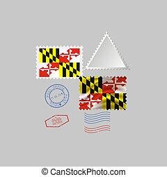 vecteur, flag., image, maryland, état, illustration., timbre, affranchissement