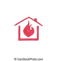 vecteur, flamme, fond, aquarelle, maison, aquarelle, pencil., blanc, illustration.