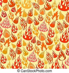 vecteur, flammes, (fire), icônes, fond