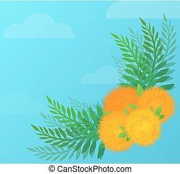 vecteur, fleur, angulaire, modèle, invitations, leaves., jaune, cartes, pissenlits, créativité, décorer, élément, ton