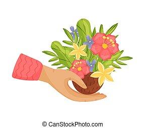 vecteur, fleur, arrière-plan., coconut., blanc, moitié, illustration, bouquet