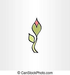 vecteur, fleur, contour, icône, stylisé
