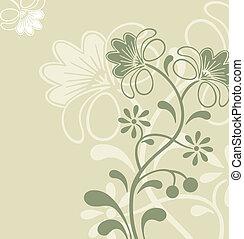 vecteur, fleur, ornament., gris