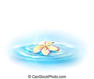 vecteur, fleur, water., eps10., illustration