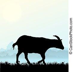 vecteur, fleurs, silhouette, chèvre, herbe