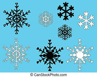 vecteur, -, flocon de neige, fond