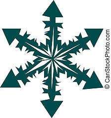 vecteur, -, flocon de neige, icône