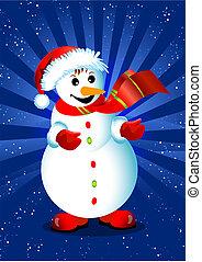 vecteur, flocons neige, carte, fond, noël, heureux, bonhomme de neige, blue., illustration