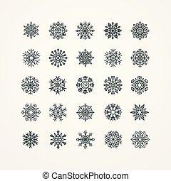 vecteur, flocons neige, illustration, fond, noir, collection, blanc