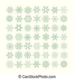 vecteur, flocons neige, illustration, fond, vert, collection, blanc