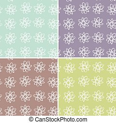 vecteur, floral, ensemble, pattern., 4, seamless