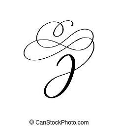 vecteur, floral, j, lettre, main, monogram, ou, tourbillons, mariage, calligraphic, conception, curl., dessiné, majuscule, logo., lettrage