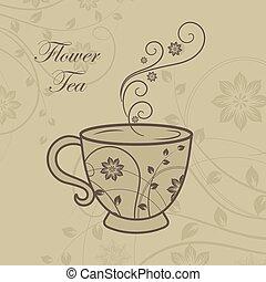 vecteur, floral, tasse thé, conception, elements., illustration.