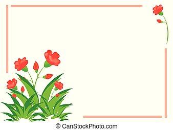 vecteur, flore, rouge vert, carte