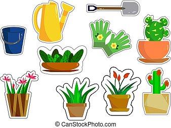vecteur, flowers., outils jardin, illustration., autocollants