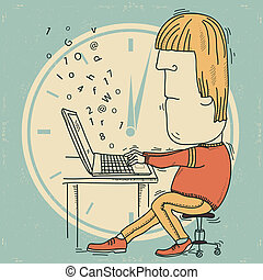 vecteur, fonctionnement, occupé, homme, computer., ...