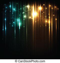 vecteur, fond, à, clair, magie, lumières, et, étoiles