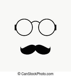 vecteur, fond, blanc, lunettes, moustache, icône