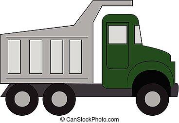 vecteur, fond, blanc, vert, simple, illustration, camion