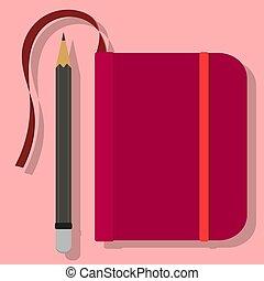 vecteur, fond, caoutchouc, illustration, cahier, orange, bourgogne, signet, image, rose, crayon, bande, simple