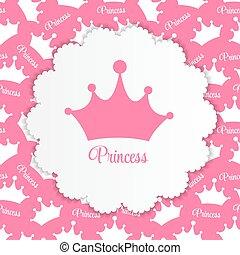 vecteur, fond, couronne, princesse, illustration