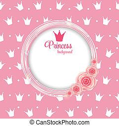 vecteur, fond, couronne, princesse, illustration.