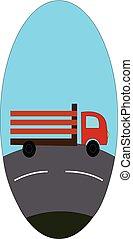 vecteur, fond, eclips, route, blanc, bleu, illustration, camion