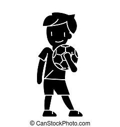 vecteur, fond, icône, balle, isolé, signe, garçon, illustration