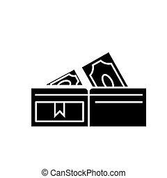 vecteur, fond, icône, isolé, billets banque, portefeuille, signe, illustration