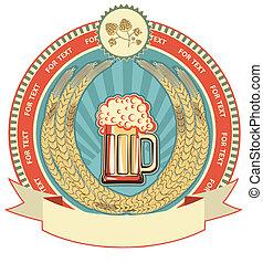 vecteur, fond, label., bière, blanc, texte, symbole