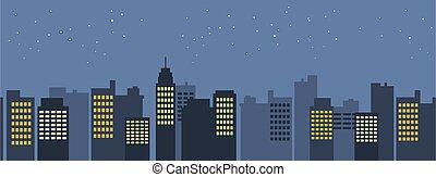 vecteur, fond, moderne, cityscape, scène, gratte-ciel, seamless, night., modèle, border., plat, urbain