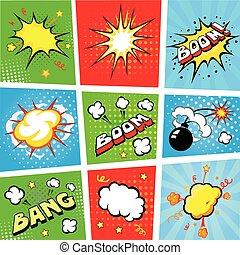vecteur, fond, parole, bande dessinée, bulles, illustration