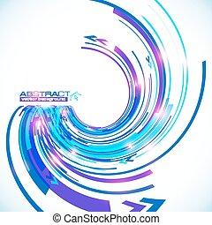 vecteur, fond, résumé, spirale bleue, techno