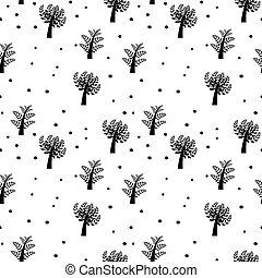 vecteur, fond, seamless, arbres