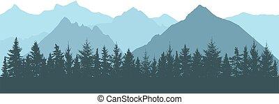vecteur, fond, silhouettes., montagnes, brouillard, réaliste, forêt, illustration